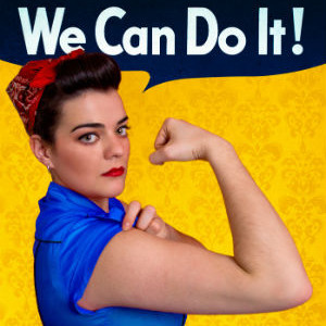 Young woman posing as working girl like the original poster of Rosie the Riveter