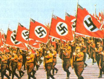 Nazis with raised flags